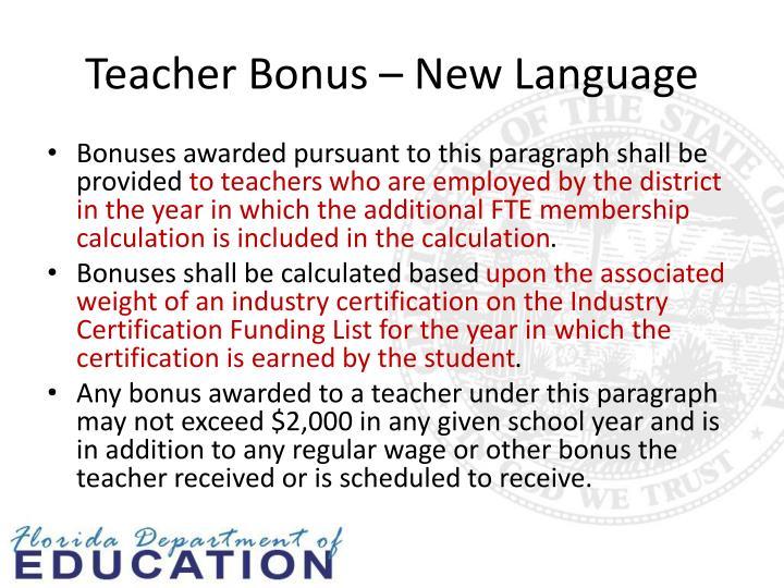 Teacher Bonus – New Language