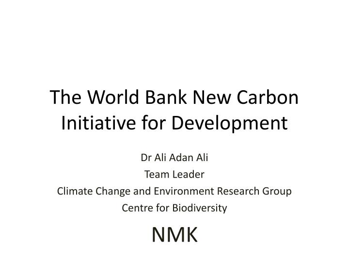 the world bank new carbon initiative for development n.