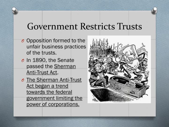 Government Restricts Trusts
