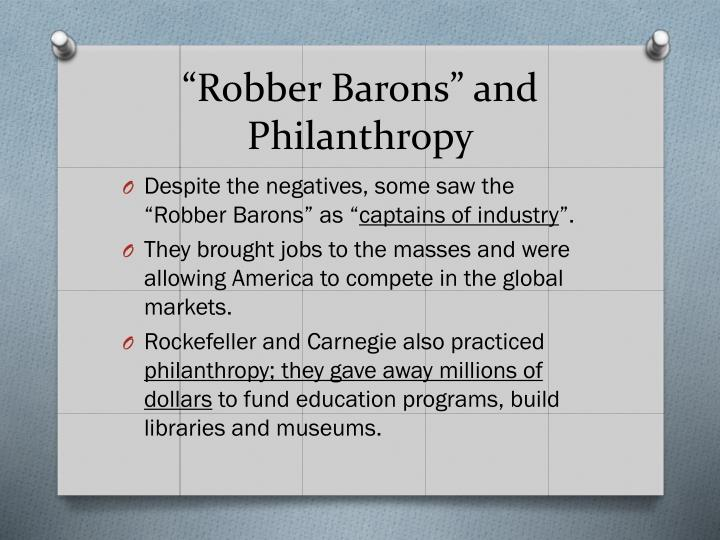 """Robber Barons"" and Philanthropy"