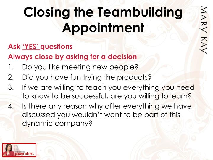 Closing the Teambuilding Appointment