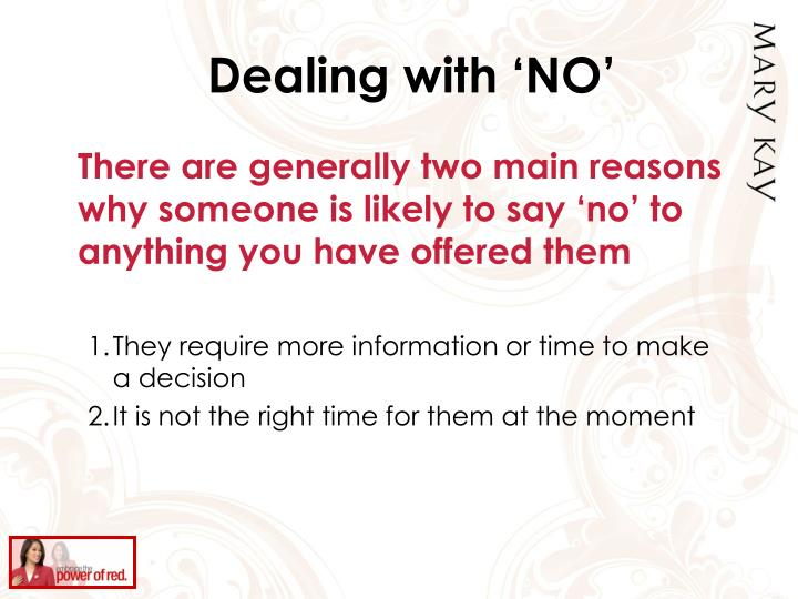 Dealing with 'NO'