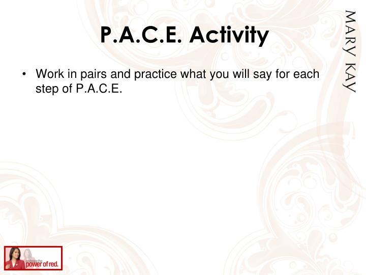 P.A.C.E. Activity