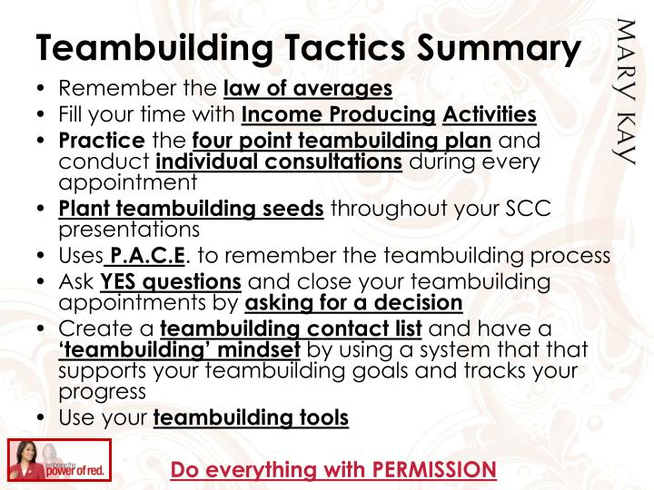 Teambuilding Tactics Summary