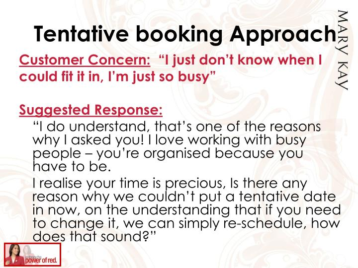 Tentative booking Approach
