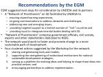 recommendations by the egm