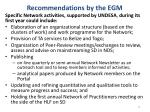 recommendations by the egm2