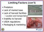 limiting factors con t