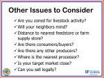other issues to consider