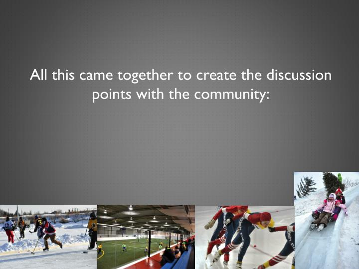 All this came together to create the discussion points with the community: