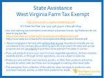 state assistance west virginia farm tax exempt