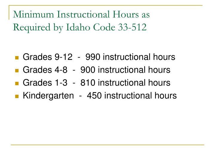 Minimum Instructional Hours as
