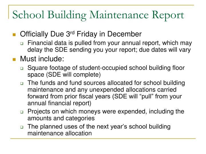 School Building Maintenance Report