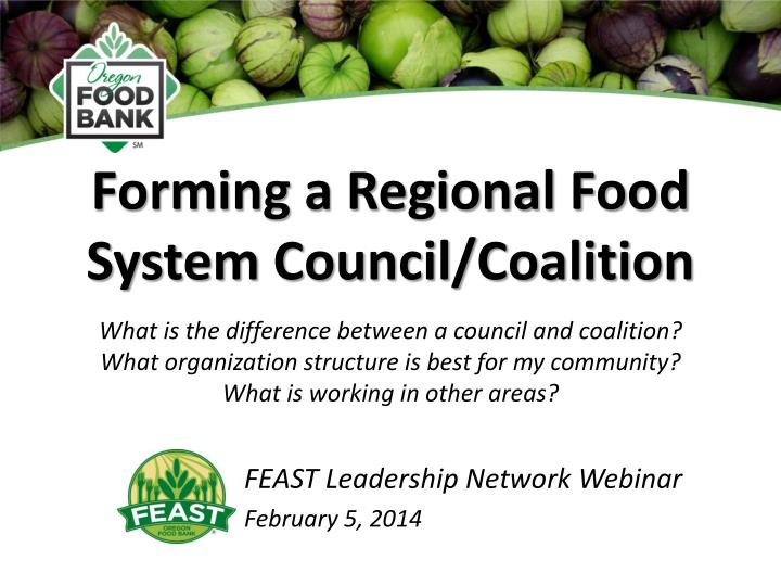 Forming a regional food system council coalition