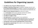 guidelines for organizing layouts