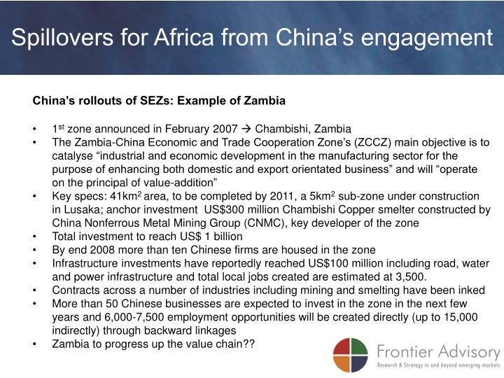 Spillovers for Africa from China's engagement