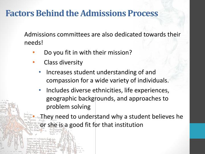 Factors behind the admissions process1