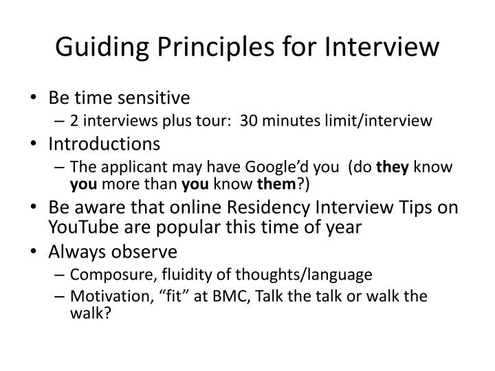 Guiding Principles for Interview