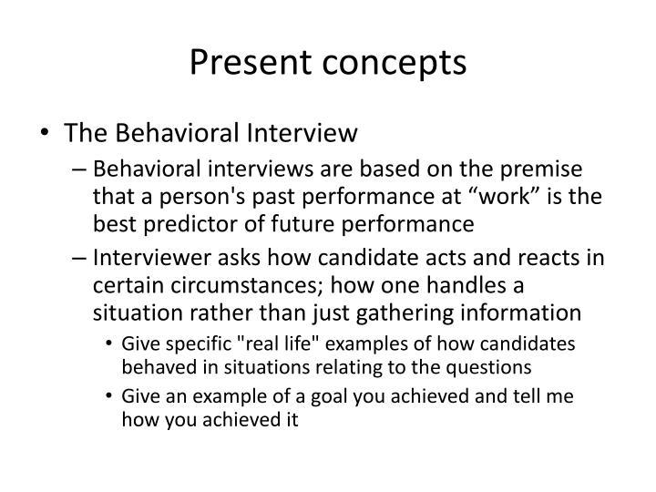 Present concepts
