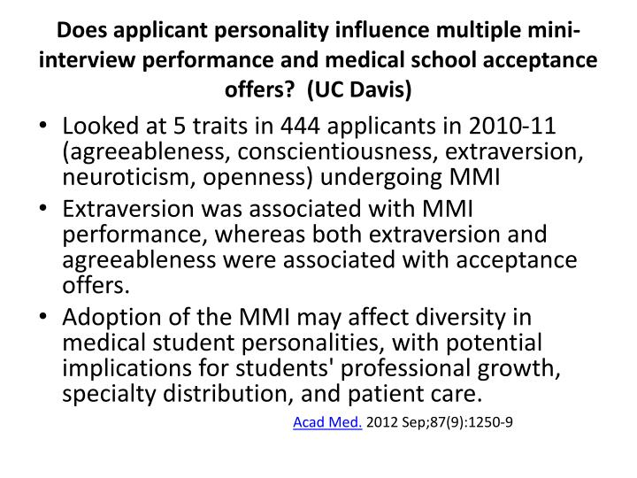 Does applicant personality influence multiple mini-interview performance and medical school acceptance offers?