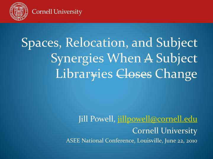 Spaces, Relocation, and Subject Synergies When