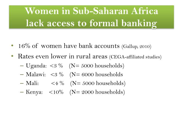 Women in sub saharan africa lack access to formal banking