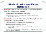 kinds of tasks specific to reflection