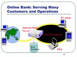 online bank serving many customers and operations