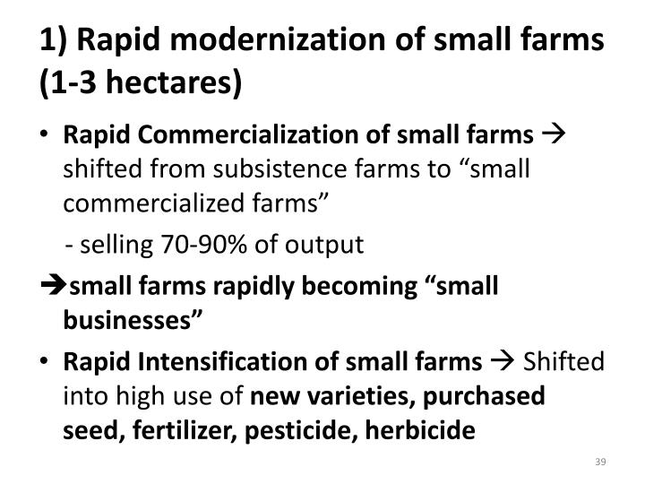 1) Rapid modernization of small farms (1-3 hectares)