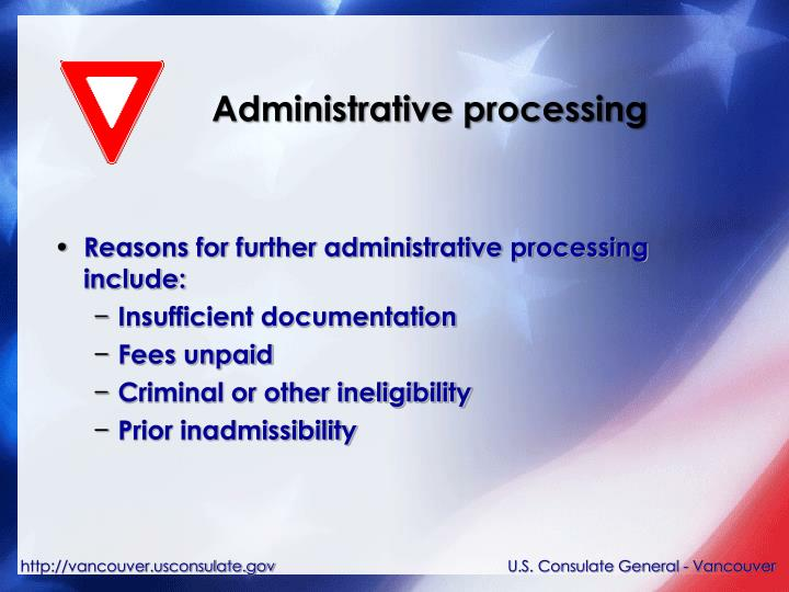 Administrative processing