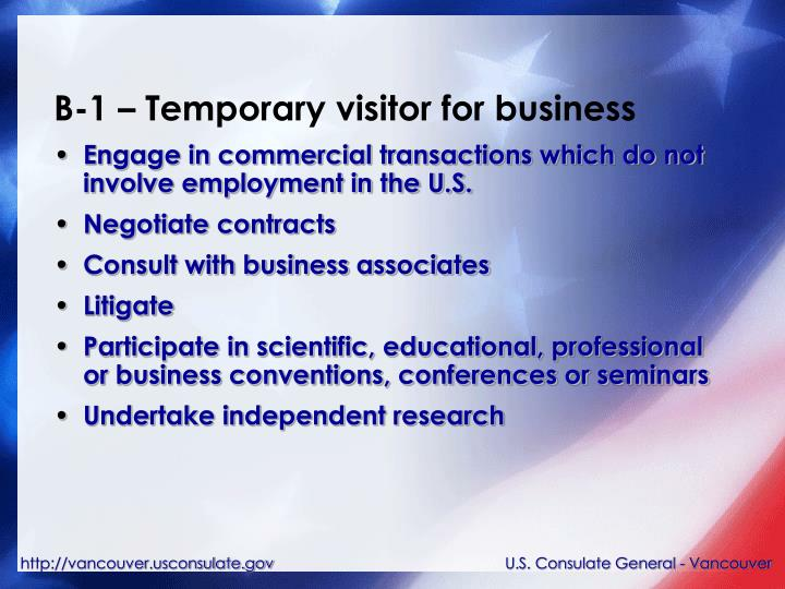 B-1 – Temporary visitor for business