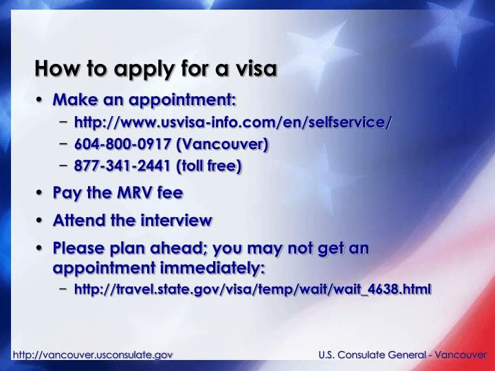 How to apply for a visa