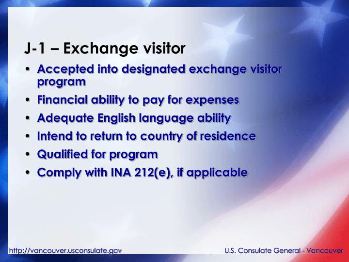 J-1 – Exchange visitor