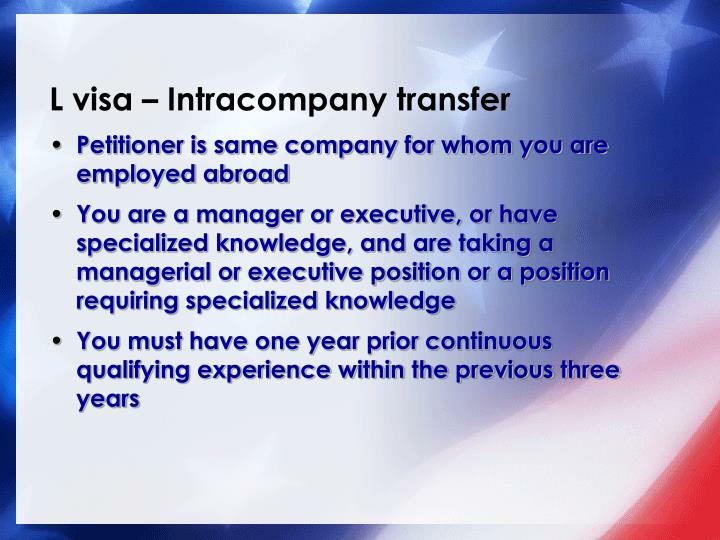 L visa – Intracompany transfer