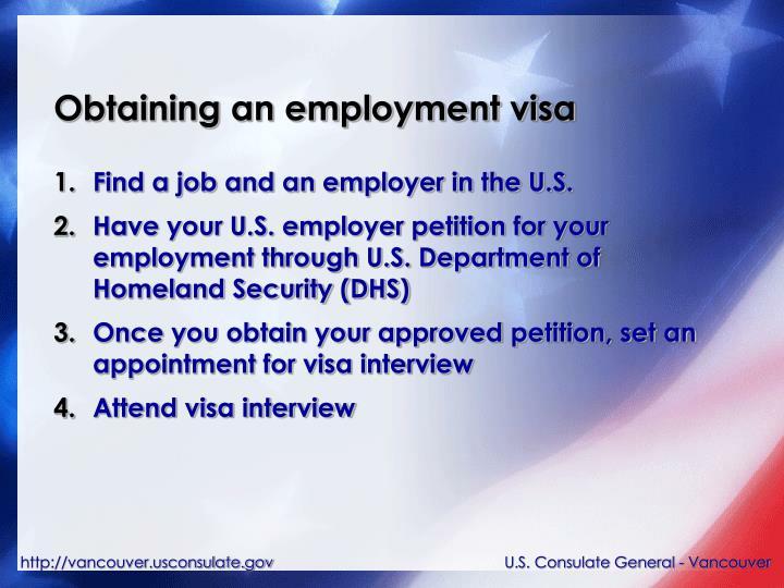 Obtaining an employment visa
