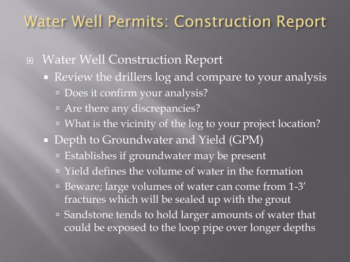 Water Well Permits: Construction Report