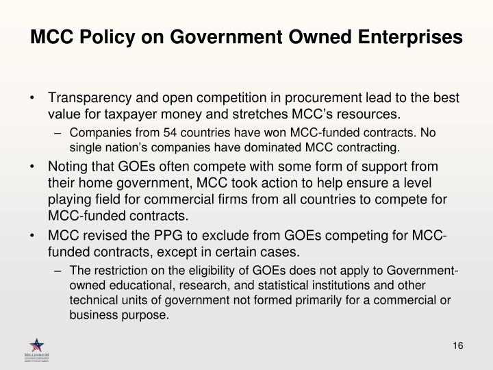 MCC Policy on Government Owned Enterprises