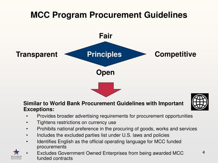 MCC Program Procurement Guidelines
