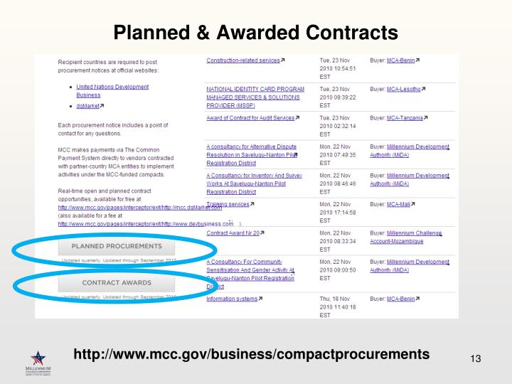 Planned & Awarded Contracts
