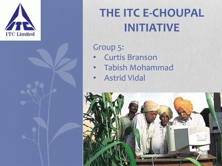 contribution of itc e choupal towards india's E- choupal : the power of ict for farmers' empowerment in india - a case study dr kapil dev sharma 1 abstract choupal in hindi language means a village gathering place.