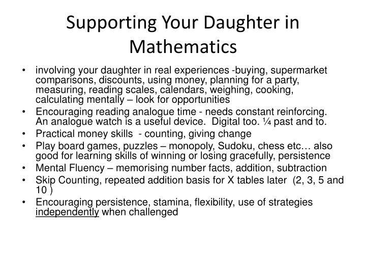 Supporting Your Daughter in Mathematics
