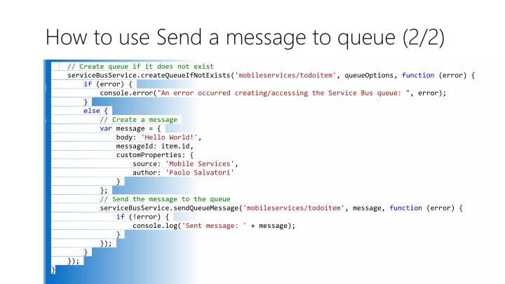 How to use Send a message to queue