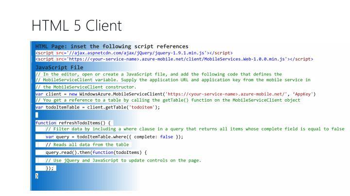 HTML 5 Client