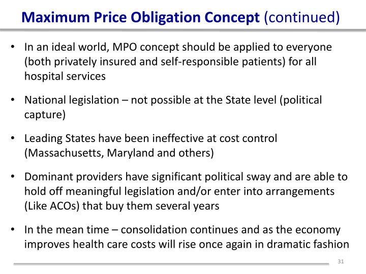 Maximum Price Obligation Concept