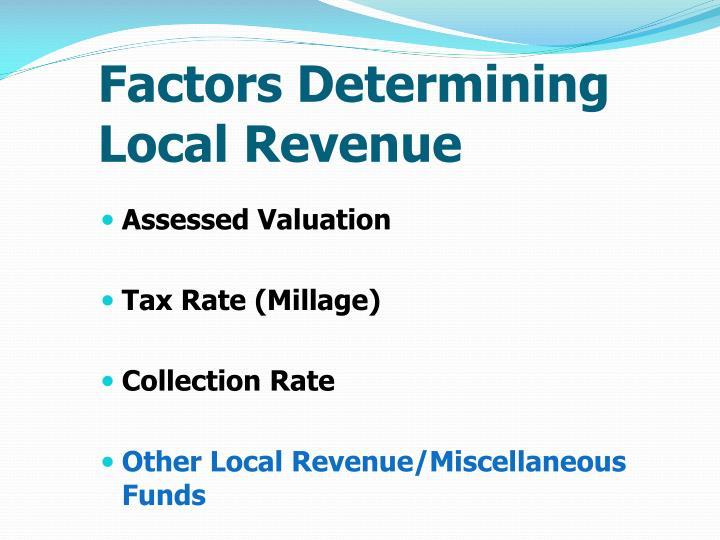 Factors Determining Local Revenue