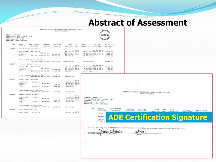 Abstract of Assessment