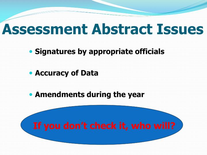 Assessment Abstract Issues