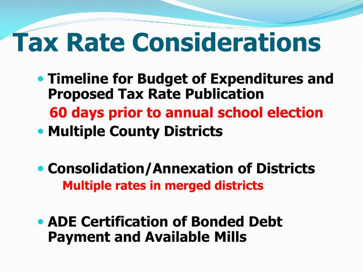 Tax Rate Considerations