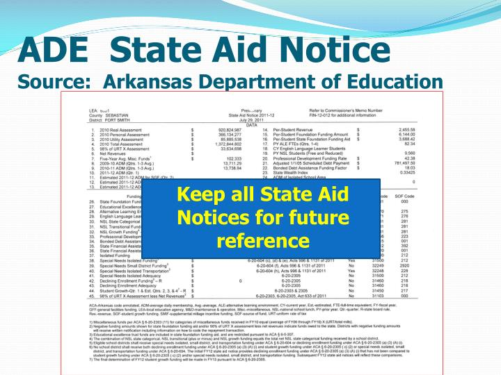 ADE  State Aid Notice