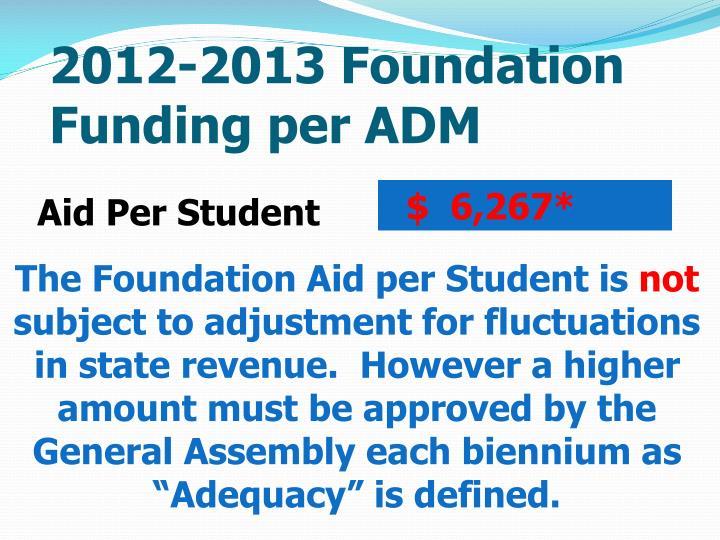 2012-2013 Foundation Funding per ADM